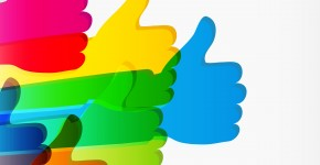 Like and Thumbs Up symbol. Abstract background.  Vector illustra